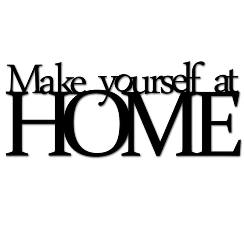 Napis na ścianę MAKE YOURSELF AT HOME czarny