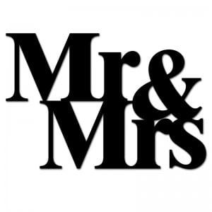 Napis na ścianę MR&MRS czarny