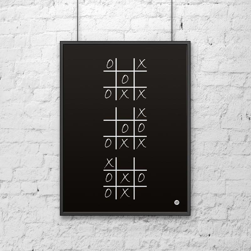 Plakat dekoracyjny 50x70 cm KÓŁKO I KRZYŻYK czarny