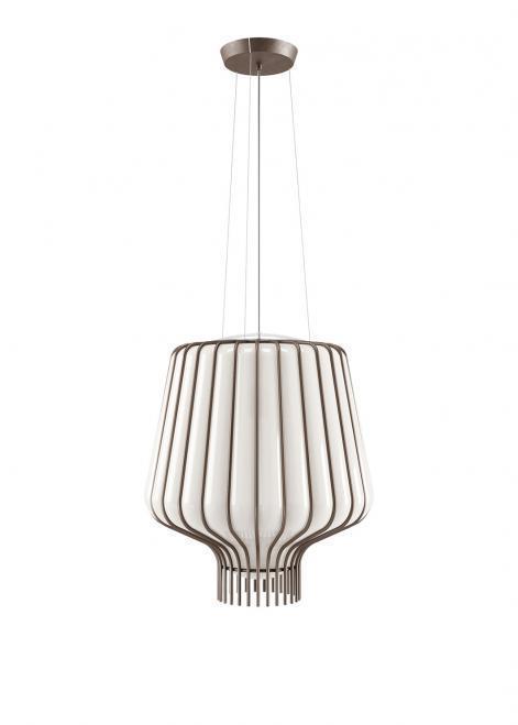 Lampa wisząca Fabbian Saya F47 22W 40cm - biały oraz brazowy - F47 A09 01