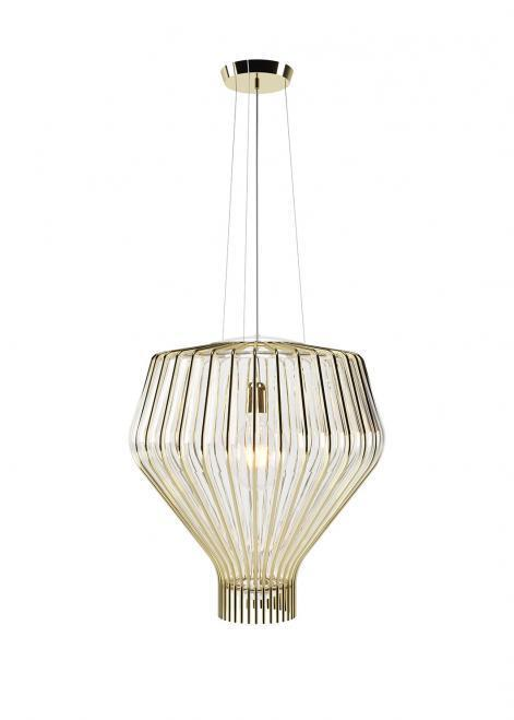 Lampa wisząca Fabbian Saya F47 22W 48cm - Przeźroczysty oraz złoty - F47 A23 00