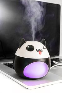 Różowy nawilżacz powietrza LED w kształcie kota z wiatrakiem oraz lampką USB small 4