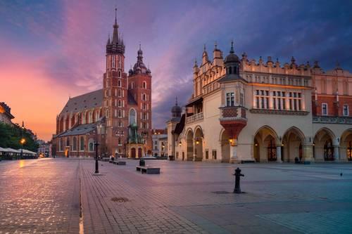 Fototapeta Kraków Stare Miasto Rynek, Kościół Mariacki i Sukiennice