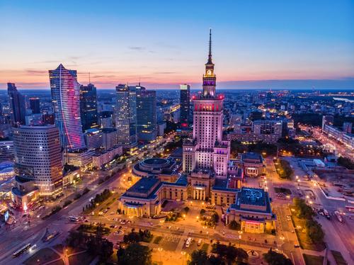 Fototapeta Warszawa Wieczorem Pałac Kultury, Panorama