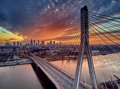 Fototapeta Panoramiczna Warszawa Zachód Słońca i Most Świętokrzyski