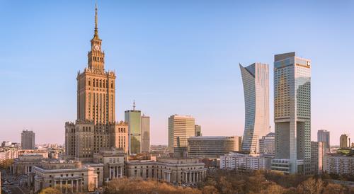 Fototapeta Warszawa Centrum o Świcie, Pałac Kultury, Złota 43, Intercontinental