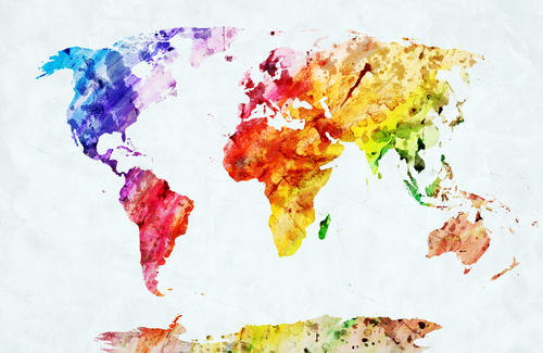 Fototapeta Mapa Świata Akwarela