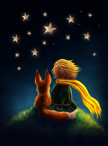 Fototapeta Maly Ksiaze, dekoracyjna do pokoju dziecka, Mały Książę i Lis, gwieździste niebo