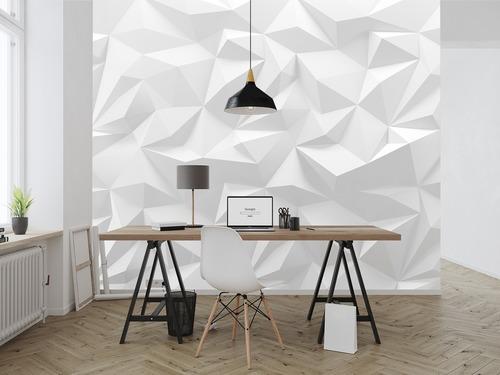 Fototapeta 3D wektor trójkąt, biel i odcienie szarości, futurystyczne bryły