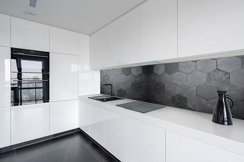 Fototapeta 3D Honeycomb, antracyt, beton, Hexagon, styl loft