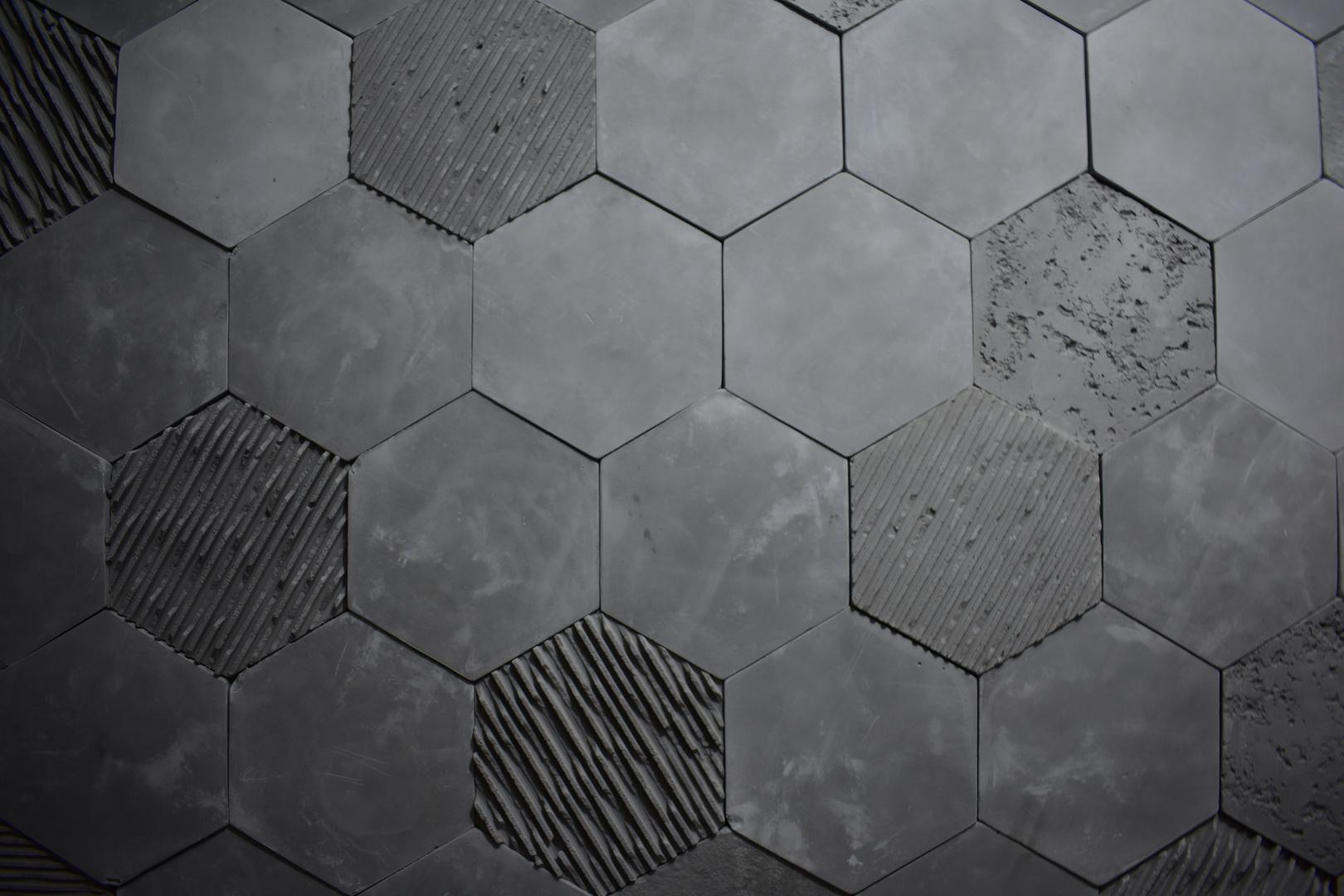 Fototapeta 3D Honeycomb, antracyt, beton, Hexagon, styl loft