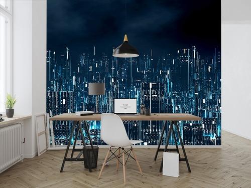 Fototapeta 3D cyfrowe miasto nocą, rzeczywistość wirtualna, business intelligence, fototapeta do biura