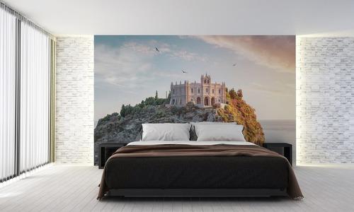 Santa Maria dell'Isola, fototapeta do salonu, sypialni, słoneczny dzień na wyspie, ciepłe i zimne kolory, Tropea, Calabria, Włochy