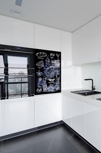 Fototapeta do Kuchni czarna tablica kredowa, potrawy, napoje, desery, dekoracja