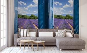 Fototapeta widok z okna, lawenda, góry, lazurowe wybrzeże, niebieskie okiennice small 1