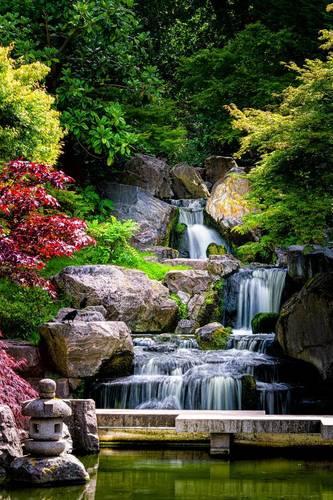 Fototapeta do łazienki wodospad, Japonia, skały, drzewa