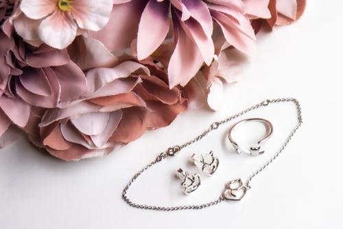 Zestaw biżuterii srebrnej - z motywem kotka