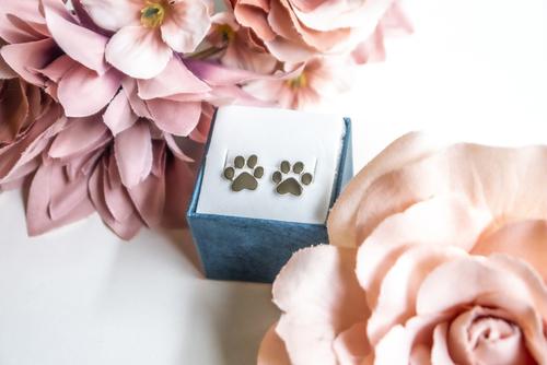 Srebrne kolczyki z motywem psiej łapki