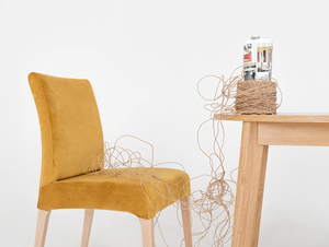 Krzesło tapicerowane DIANA, naturalny buk, marakuja small 1