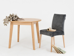 Krzesło tapicerowane szare DIANA, buk small 2