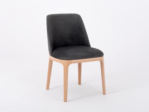 Nowoczesne krzesło LULU tapicerowane, buk, szary beż