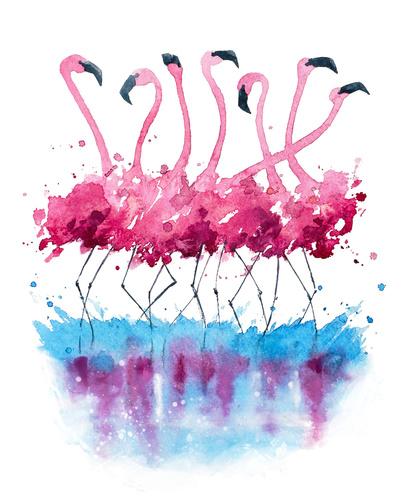 Fototapeta dla dzieci, flamingi, malowane akwarelą, wakacyjna dekoracja