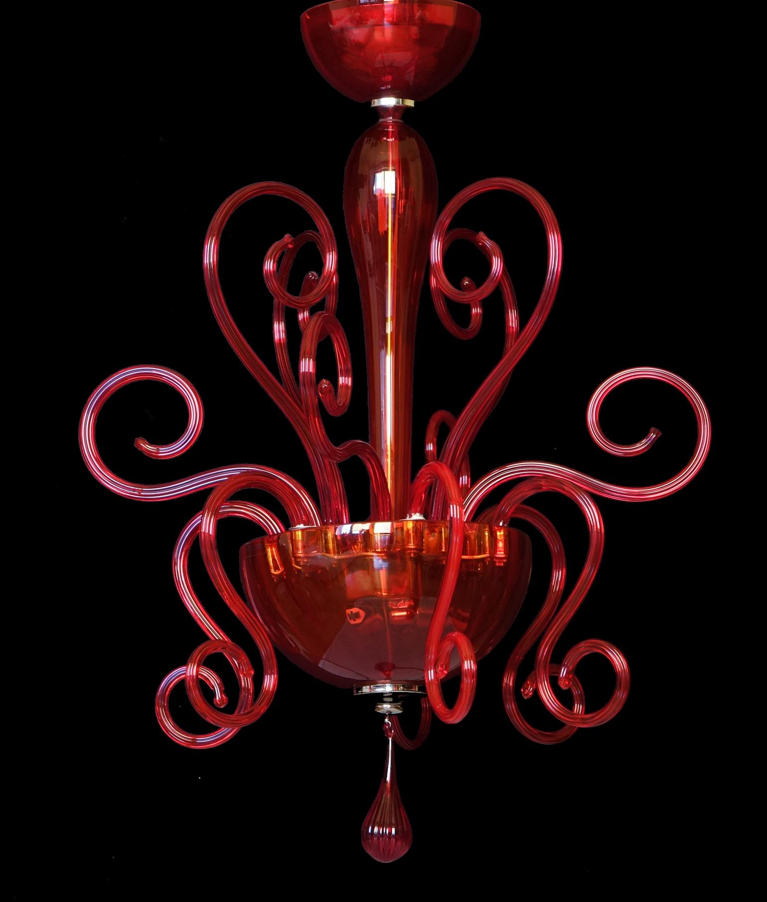 Żyrandol Leucos Bolero S50 czerwony kryształ
