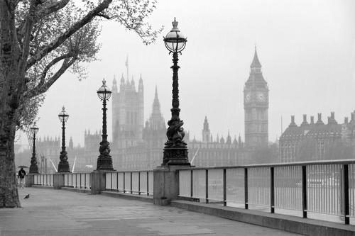 Fototapeta Londyn, czarno-biała, opactwo Westminster, Big Ben