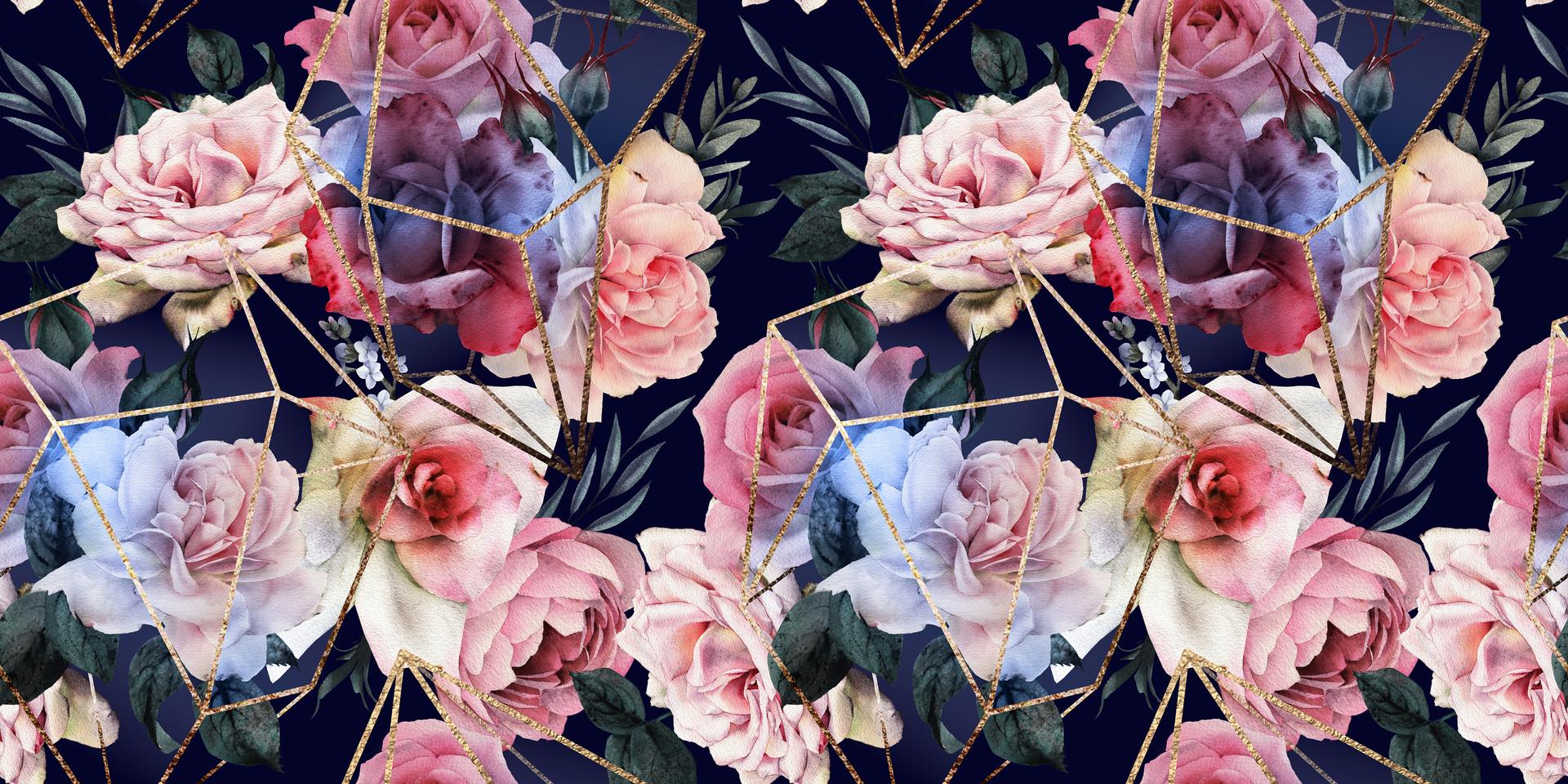 Fototapeta kwiaty na czarnym tle, złote wzory geometryczne, róże, tapeta 3D