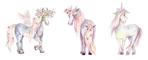 Fototapeta Jednorożec, Pegaz oraz Kucyk, akwarela, kwiaty, dla dziewczynki