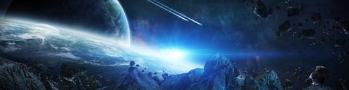 Fototapeta 3D, Przestrzeń kosmiczna, Niebieski kolor, asteroidy,Ziemia.