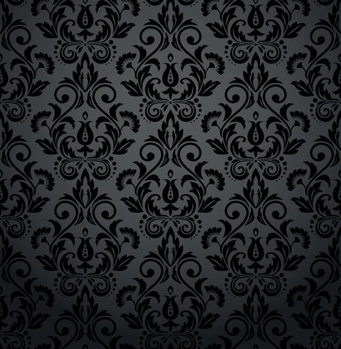 Fototapeta do salonu - kwiatowe ornamenty, barok, odcienie szarości i czerni, glamour