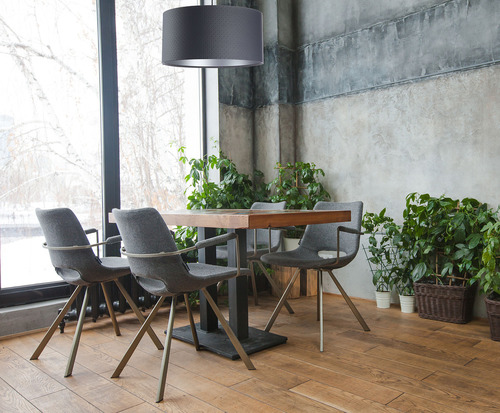 Lampa wisząca Leather E27 60W walec grafit srebro