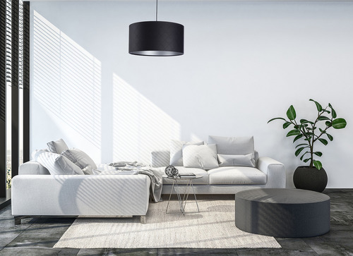 Lampa pikowana Leather E27 60W walec czerń srebro