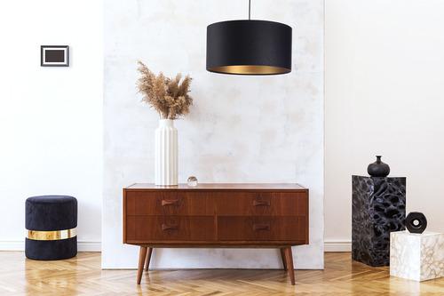 Lampa wisząca nad stół Leather E27 60W pikowana czerń złoto