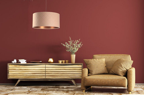 Lampa wisząca do jadalni Leather E27 60W pikowana, łososiowy, miedziany
