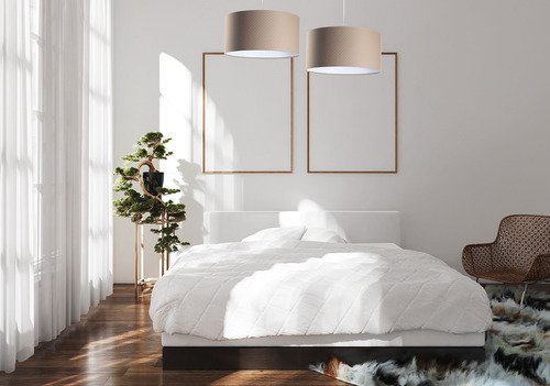 Lampa wisząca nad stół Leather E27 60W pikowanie w kropki, beż, biel