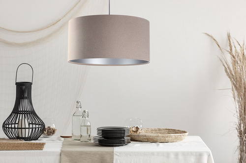 Wisząca lampa Leather E27 60W materiał tapicerowany, beż, srebro