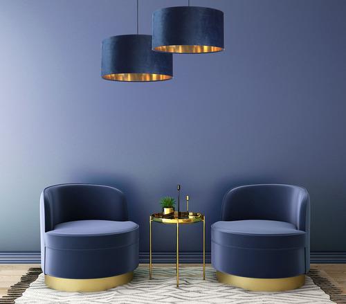 Leather - granatowa lampa wisząca, tkanina aksamitna, złoto E27 60W
