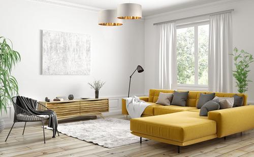 Leather - lampa wisząca nad stół, tkanina aksamitna, kremowy / złoty E27 60W