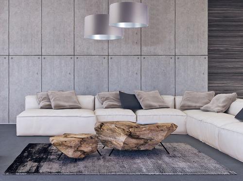Lampa szara wisząca Leather 60W E27 satyna, srebrny