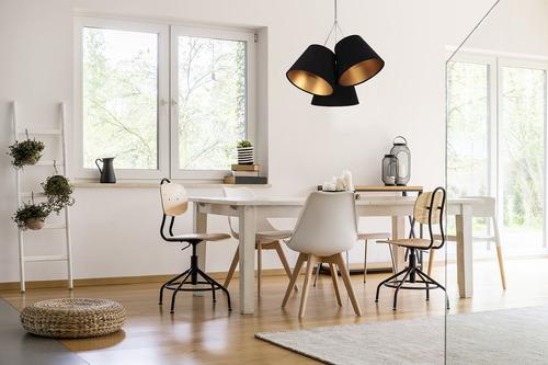Potrójna lampa wisząca do kuchni BUCKET E27 60W czarny / złoty