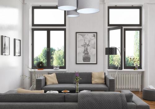 Plafon sufitowy klasyczny Elements 60W E27 szary / biały, filc