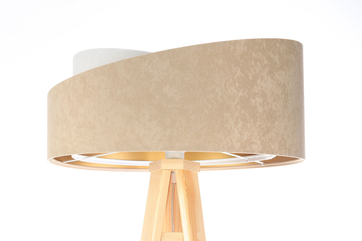 Lampa stojąca podłogowa Crown 60W E27 welur, beż / biały