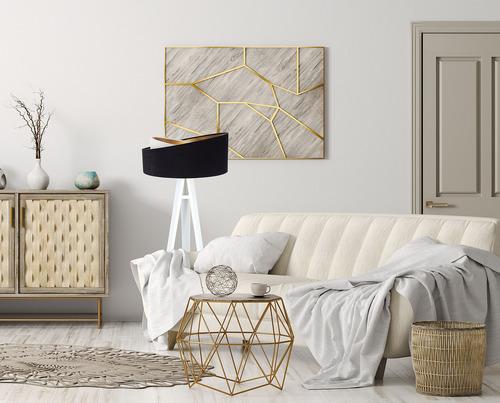 Lampa stojąca nowoczesna Crown 60W E27 welur, czarny / biały