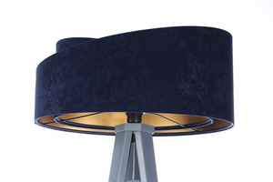 Lampa podłogowa do czytania Crown 60W E27 welur, granat / złoty small 4