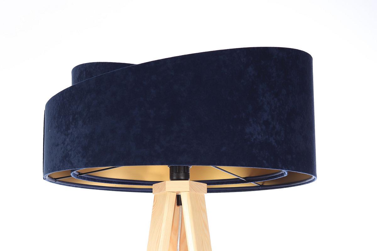 Lampa podłogowa do czytania Crown 60W E27 welur, granat / złoty