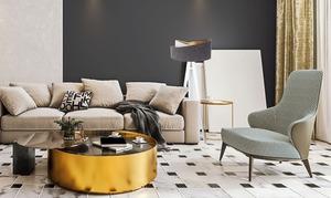 Lampa na statywie Crown 60W E27 welur, szary / biały / złoty small 10