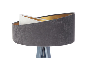 Lampa na statywie Crown 60W E27 welur, szary / biały / złoty small 5