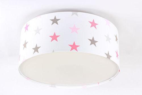 Lampa dla dziecka - Plafon Luminance E27 60W LED gwiazdki, róż, szary